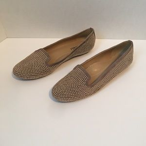 Vaneli Tan Suede Gold Beaded Flat Shoes